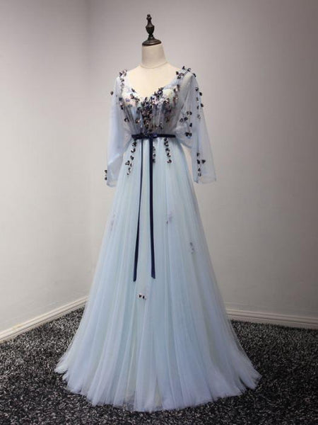 BohoProm prom dresses A-line V-neck Sweep Train Chiffon Appliqued Mist Prom Dresses ASD26771