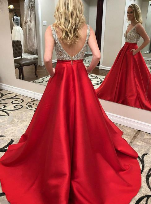 BohoProm prom dresses A-line V-neck Sweep Train Satin Red Prom Dresses With Rhine Stones ASD27102