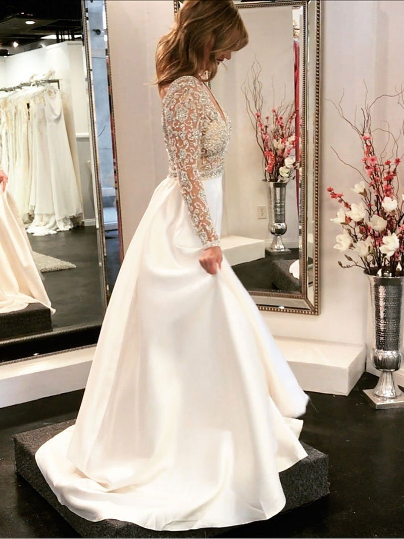 BohoProm prom dresses A-line V-Neck Sweep Train Satin Rhine Stone Sequined Beaded Long Sexy Prom Dresses 2816