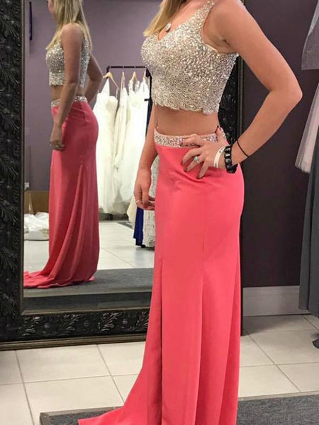 BohoProm prom dresses A-line V-neck Sweep Train Satin Two Piece Prom Dresses With Sequins HX0076
