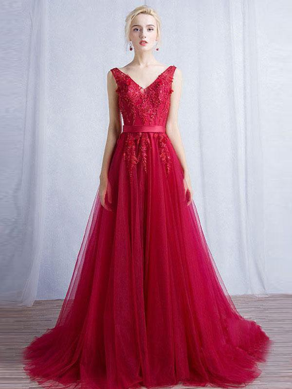 BohoProm prom dresses A-line V-neck Sweep Train Tulle Appliqued Beaded Red Prom Dresses 3015