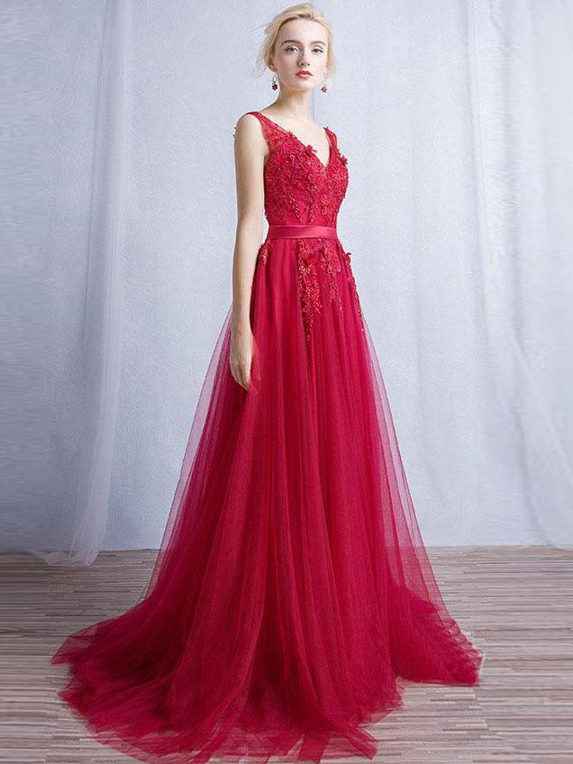 9710160b57b BohoProm prom dresses A-line V-neck Sweep Train Tulle Appliqued Beaded Red  Prom