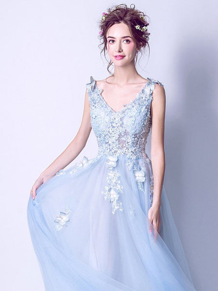 BohoProm prom dresses A-line V-Neck Sweep Train Tulle Appliqued Beaded Sky Blue Prom Dresses ASD27004