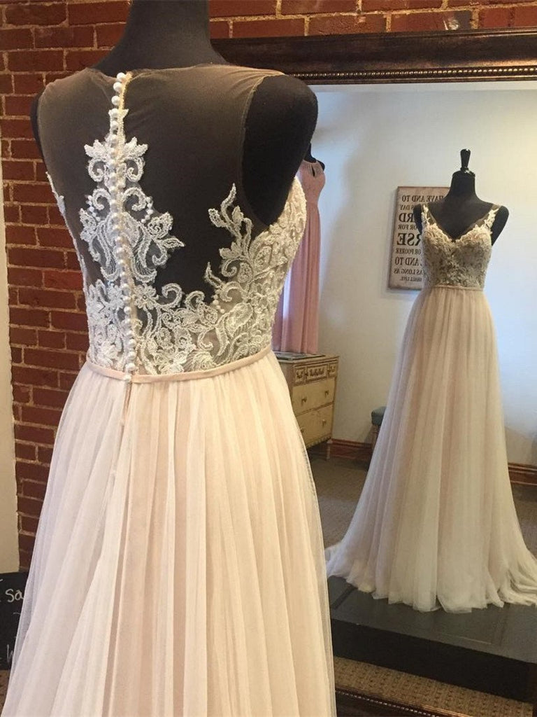 BohoProm prom dresses A-line V-neck Sweep Train Tulle Appliqued Long Prom Dresses APD2676