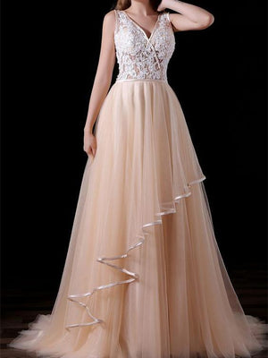 BohoProm prom dresses A-line V-neck Sweep Train Tulle Appliqued Prom Dresses ASD2624