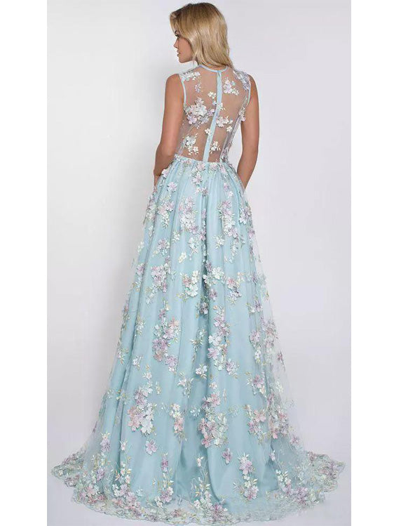 A-line V-neck Sweep Train Tulle Appliqued Prom Dresses With Flowers ASD26772