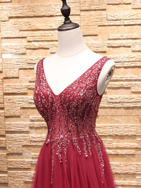 BohoProm prom dresses A-line V-neck Sweep Train Tulle Rhinestone Beaded Prom Dresses 3011