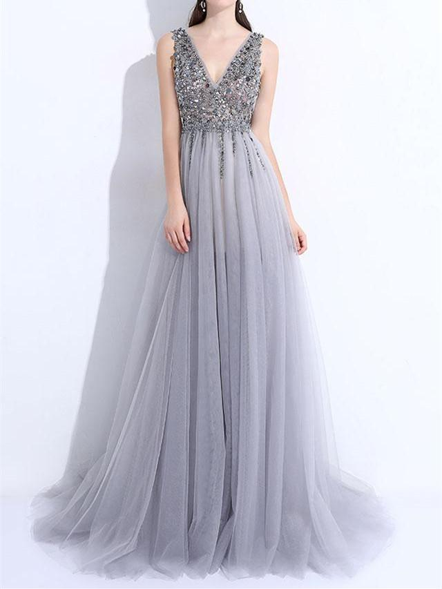 BohoProm prom dresses A-line V-neck Sweep Train Tulle Sequin Prom Dresses ASD2691