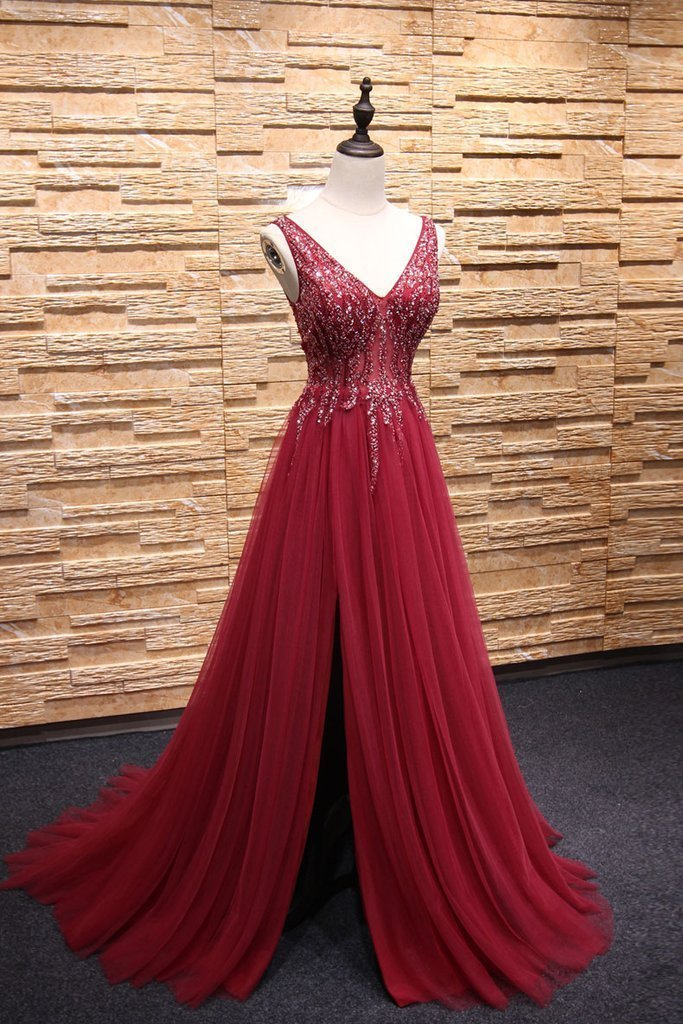A-line V-neck Sweep Train Tulle Rhinestone Beaded Prom Dresses 3011