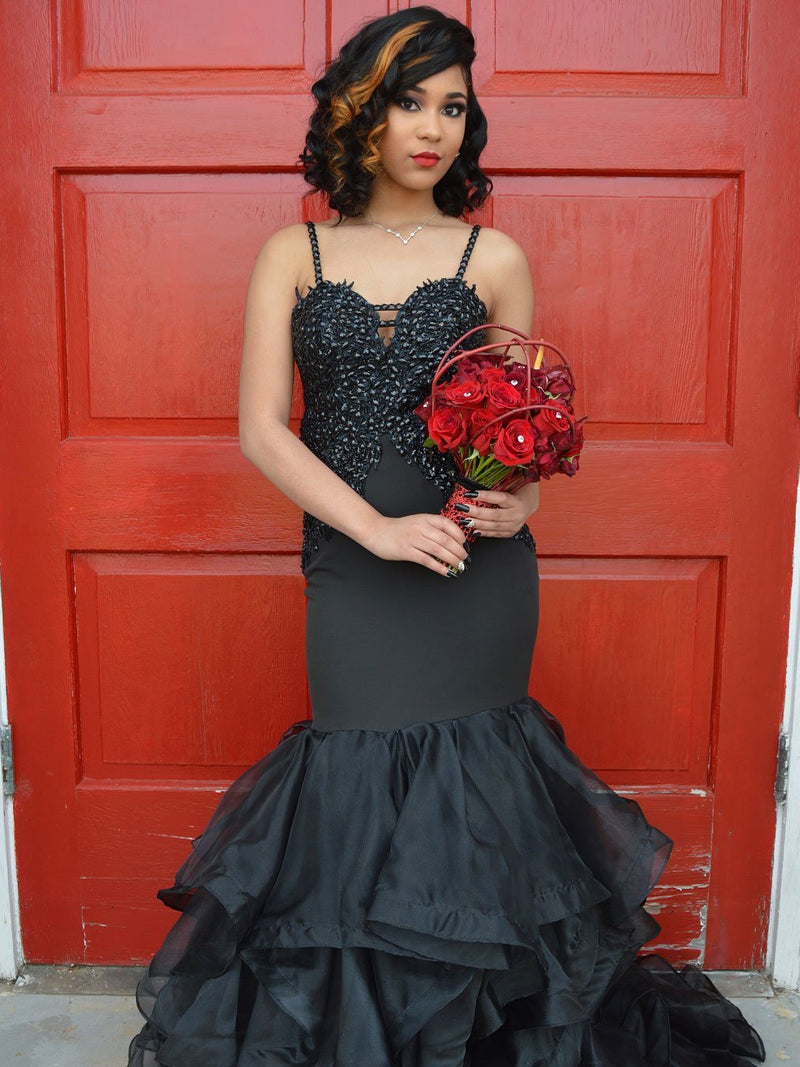 BohoProm prom dresses Alluring Tulle Spaghetti Straps Neckline Mermaid Prom Dresses With Beadings PD109