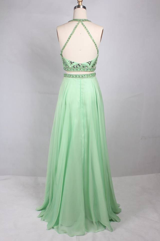 BohoProm prom dresses Attractive Chiffon Jewel Neckline 2 Pieces A-line Prom Dresses With Rhinestones PD215