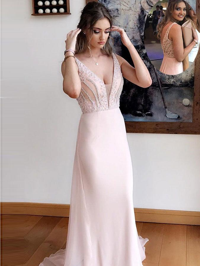 BohoProm prom dresses Attractive Chiffon V-neck Neckline Sheath Prom Dresses With Beadings PD206