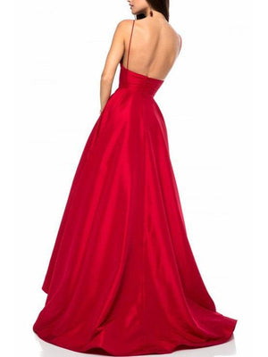 BohoProm prom dresses Attractive Satin Spaghetti Straps Neckline A-line Prom Dresses With Pleats PD179