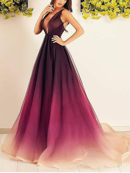 BohoProm prom dresses Attractive Tulle Deep V-neck Neckline A-line Prom Dresses PD227