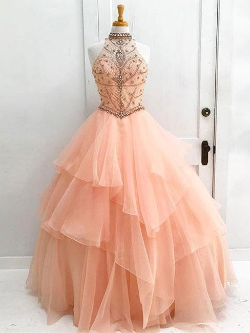 BohoProm prom dresses Ball-Gown Halter High-neck Sweep Train Tulle Beaded Prom Dresses 2876