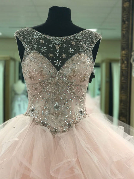 BohoProm prom dresses Ball-Gown Scoop-Neck Chapel Train Tulle Rhine Stone Beaded Prom Dresses 2859
