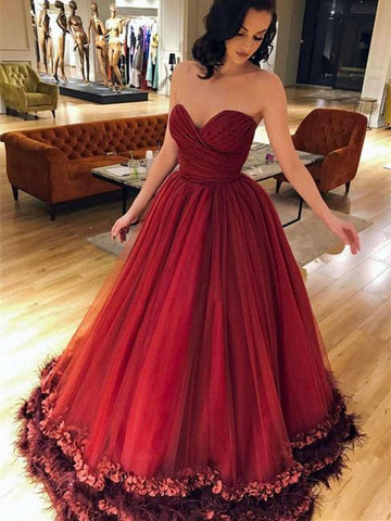 BohoProm prom dresses Ball-Gown Sweetheart Floor-Length Tulle Burgundy Long Prom Dresses HX0090