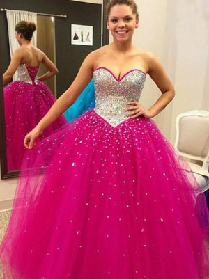 BohoProm prom dresses Ball-Gown Sweetheart Floor-Length Tulle Fuchsia Prom Dresses With Sequins HX0097