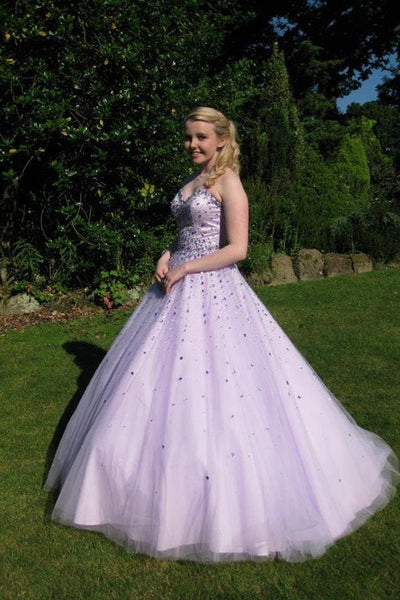 BohoProm prom dresses Ball-Gown Sweetheart Floor-Length Tulle Sequined Prom Dresses HX00131