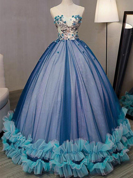 BohoProm prom dresses Ball-Gown V-Neck Floor-Length Tulle Appliqued Unique Prom Dresses HX0039