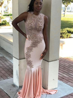 BohoProm prom dresses Beautiful Chiffon Jewel Neckline Mermaid Prom Dresses With Appliques PD115