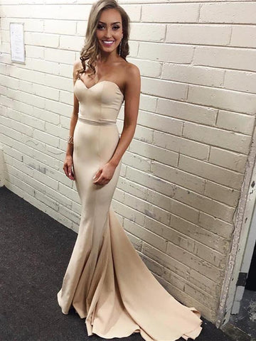 BohoProm prom dresses Beautiful Stretch Satin Sweetheart Neckline Chapel Train Sheath Prom Dresses PD229