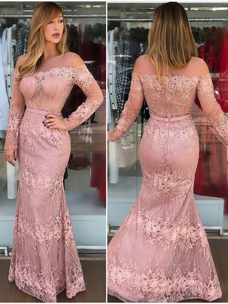 BohoProm prom dresses Beautiful Tulle Scoop Neckline Mermaid Prom Dresses With Beaded Appliques PD165