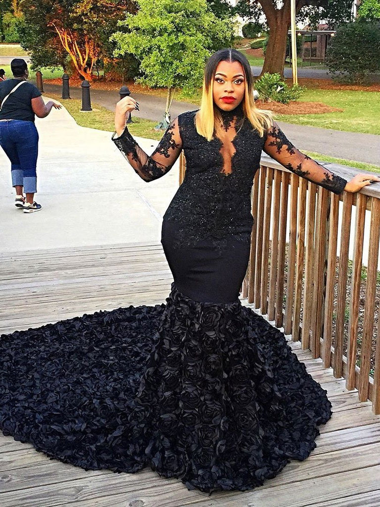 BohoProm prom dresses Black Lace Long Sleeves Mermaid Prom Dresses with Long Train,3366