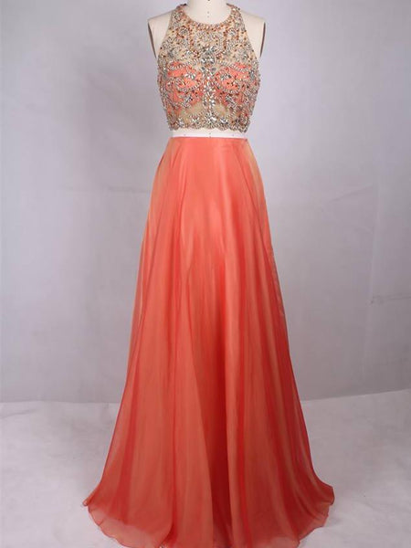 BohoProm prom dresses Brilliant Organza Jewel Neckline 2 Pieces A-line Prom Dresses With Rhinestones PD216