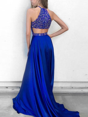 BohoProm prom dresses Brilliant Satin Jewel Neckline Cut-out Chapel Train A-line Prom Dresses With Rhinestones PD020