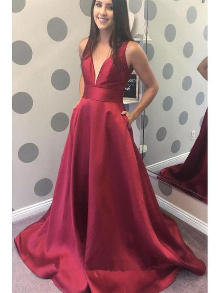 BohoProm prom dresses Burgundy Satin V-neck Simple Cheap Long Prom Dresses with Pocket 3349