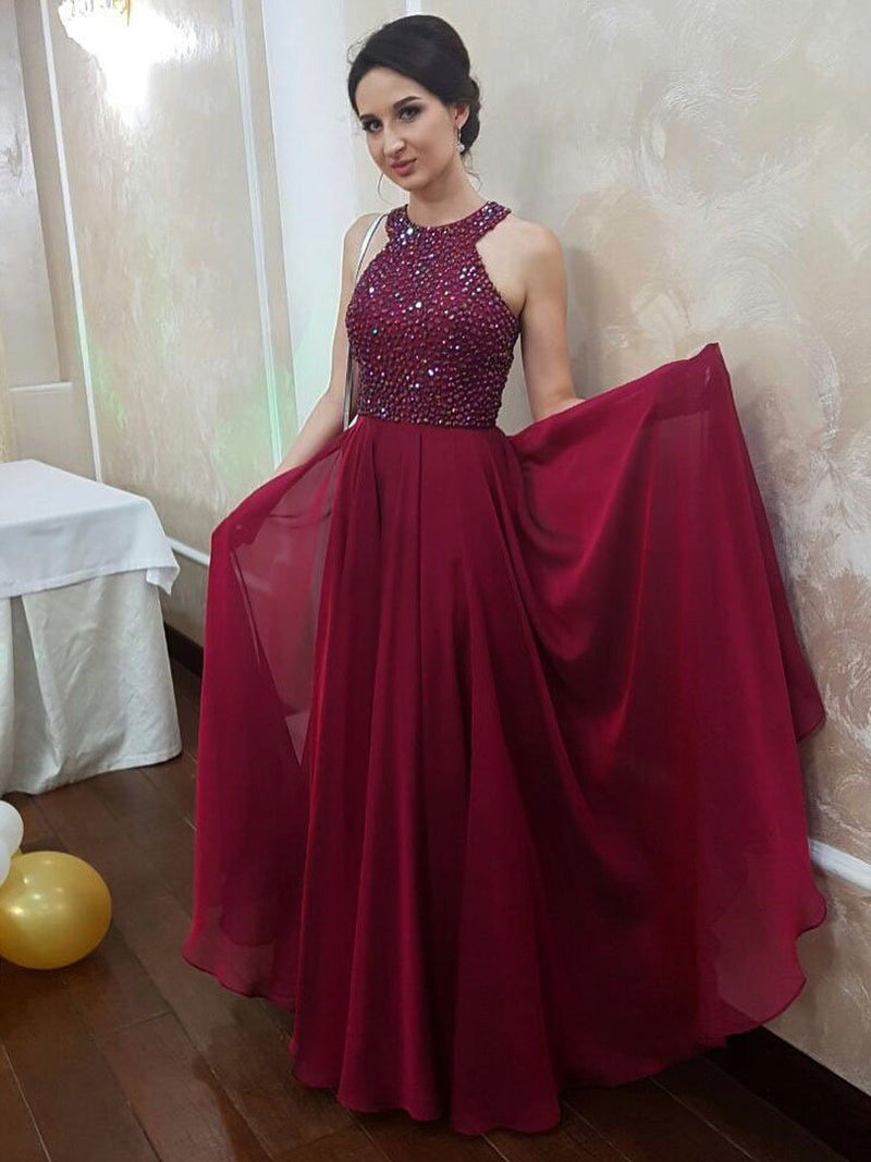 BohoProm prom dresses Charming Chiffon Jewel Neckline Floor-length A-line Prom Dresses With Rhinestones PD066