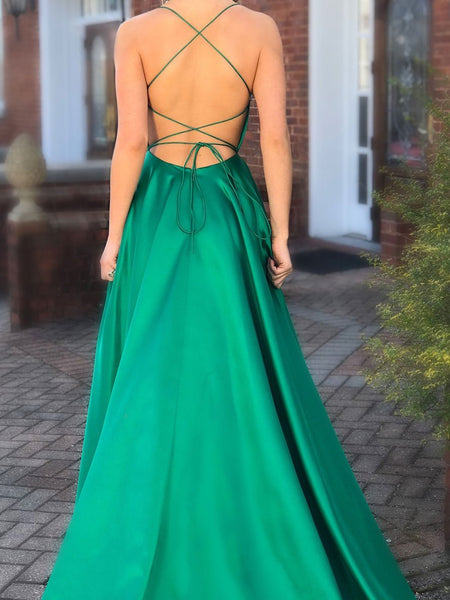 BohoProm prom dresses Charming Satin Spaghetti Straps Neckline Sweep Train A-line Prom Dresses With Slit PD051