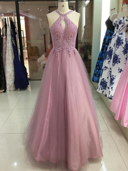 BohoProm prom dresses Charming Tulle Halter Neckline A-line Prom Dresses With Beaded Appliques PD225