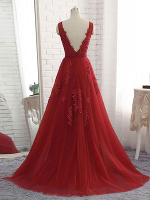 BohoProm prom dresses Charming Tulle V-neck Neckline Chapel Train A-line Prom Dresses With Beaded Appliques PD031