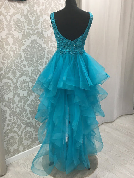 BohoProm prom dresses Charming Tulle V-neck Neckline Hi-lo Length A-line Prom Dresses With Beaded Appliques PD150