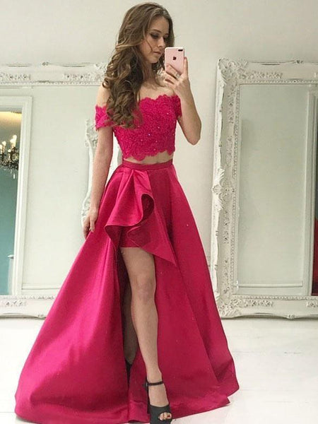 BohoProm prom dresses Chic Satin Off-the-shoulder Neckline Floor-length Two-piece A-line Prom Dresses With Beaded Appliques PD006