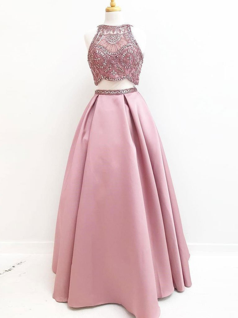 BohoProm prom dresses Chic Tulle & Satin Jewel Neckline 2 Pieces A-line Prom Dresses With Beadings PD096