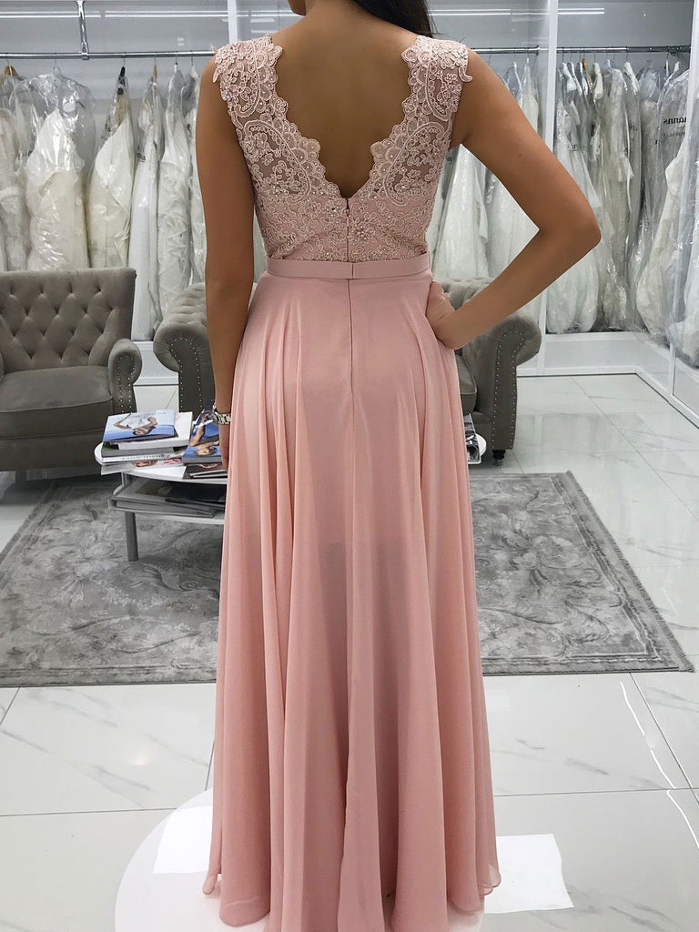 BohoProm prom dresses Delicate Chiffon V-neck Neckline A-line Prom Dresses With Beaded Appliques PD112