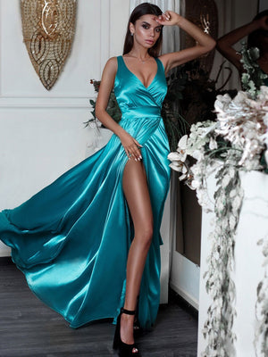 BohoProm prom dresses Delicate Satin V-neck Neckline Sweep Train A-line Prom Dress PD129