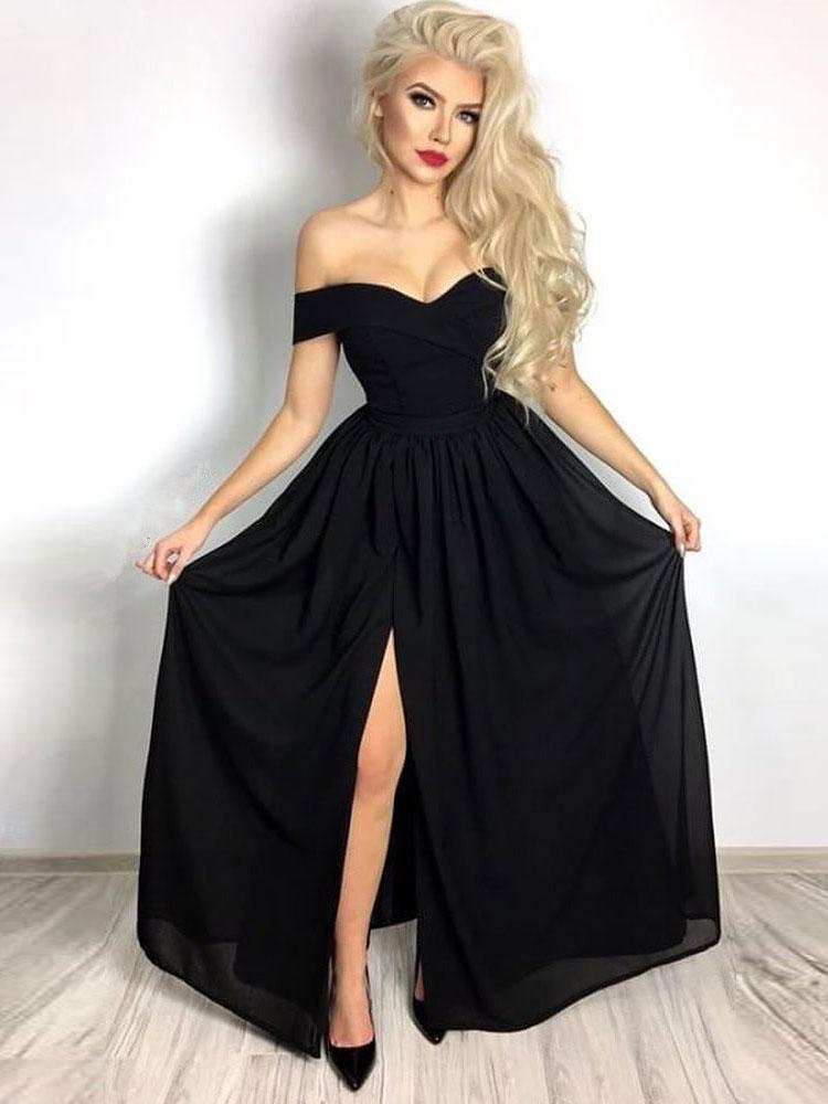 BohoProm prom dresses Elegant Chiffon Off-the-shoulder Neckline A-line Prom Dresses With Slit PD203