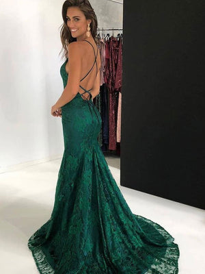 BohoProm prom dresses Elegant Lace Halter Neckline Chapel Train A-line Prom Dresses With Slit PD151