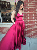 BohoProm prom dresses Elegant Satin Spaghetti Straps Neckline Sweep  Train A-line Prom Dresses With Pockets PD046