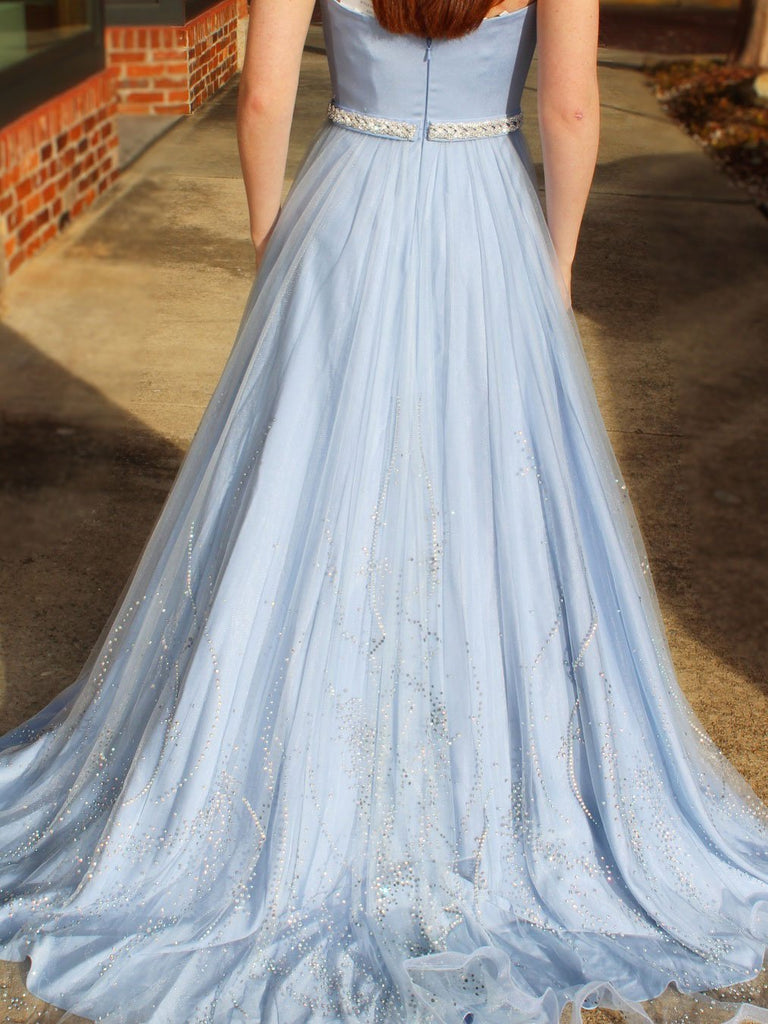 BohoProm prom dresses Elegant Satin Strapless Neckline A-line Prom Dresses With Beadings PD141