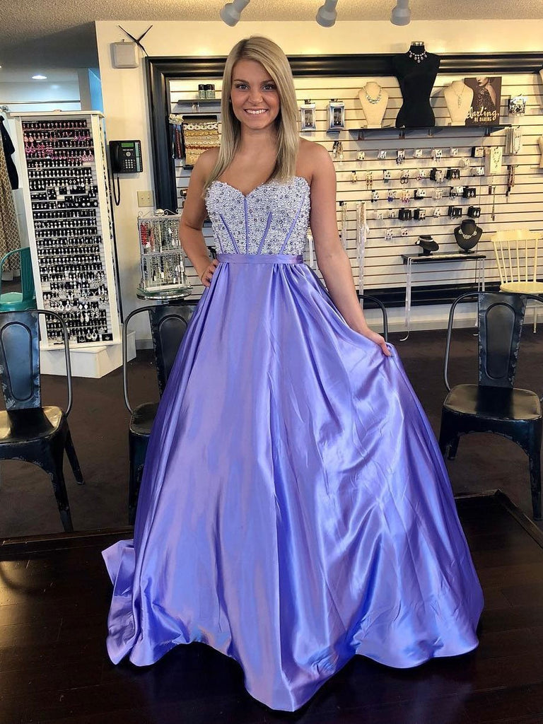 BohoProm prom dresses Elegant Taffeta Sweetheart Neckline A-line Prom Dresses With Beadings PD157