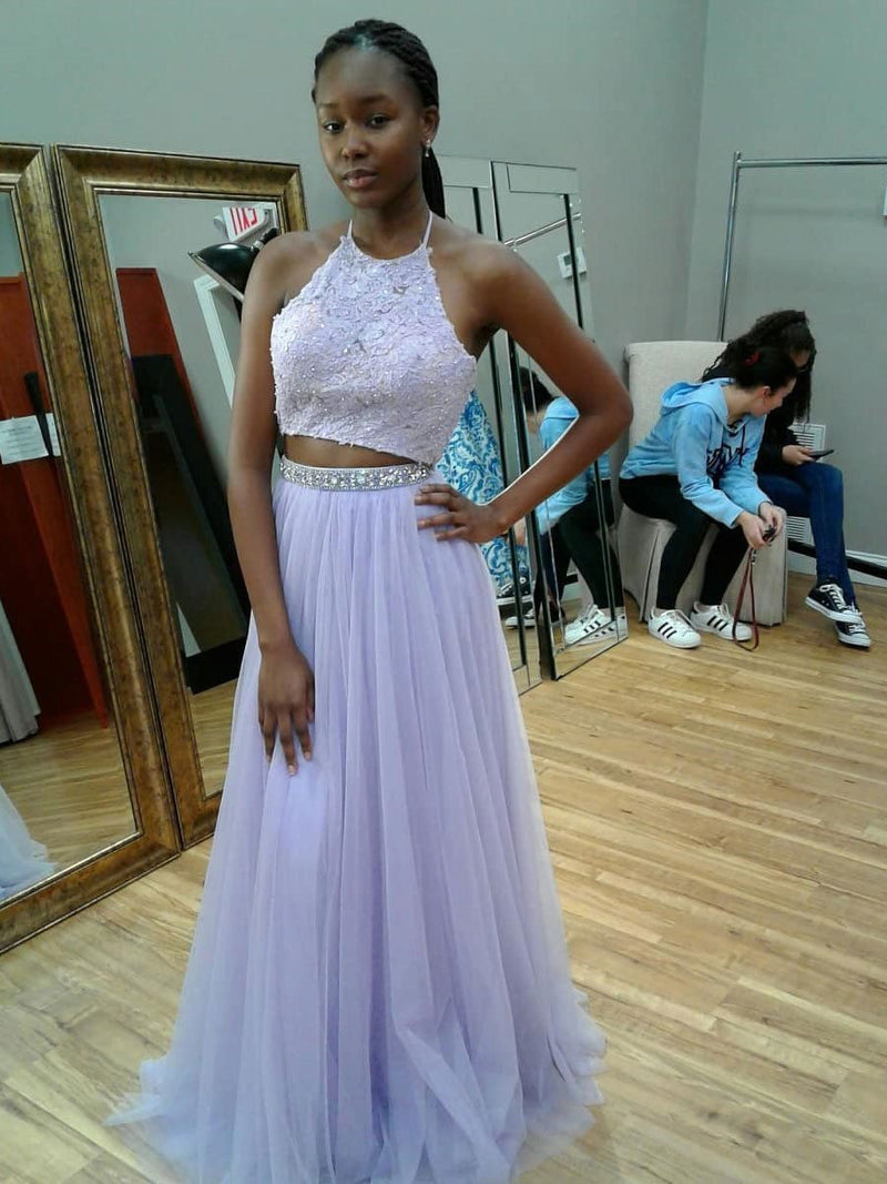 BohoProm prom dresses Elegant Tulle Halter Neckline Sweep Train 2 pieces A-line Prom Dresses With Beaded Appliques PD030