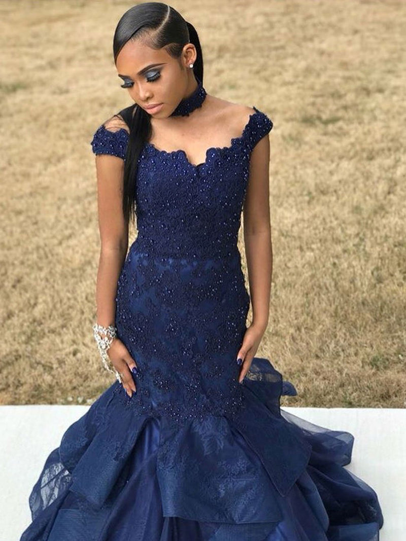 BohoProm prom dresses Elegant Tulle Off-the-shoulder Neckline Mermaid Prom Dresses With Beaded Appliques PD108