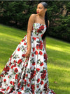 BohoProm prom dresses Excellent Satin Strapless Neckline Chapel Train A-line Prom Dress PD181