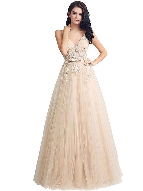 BohoProm prom dresses Excellent Tulle V-neck Neckline Floor-length A-line Prom Dresses With Rhinestones Appliques PD025