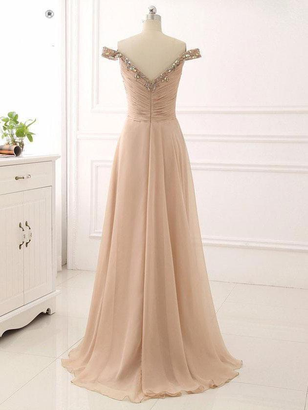 BohoProm prom dresses Exquisite Chiffon Off-the-shoulder Neckline A-line Prom Dresses With Rhinestones PD156